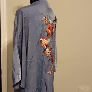 Vintage blue silky satin boho floral bird kimono
